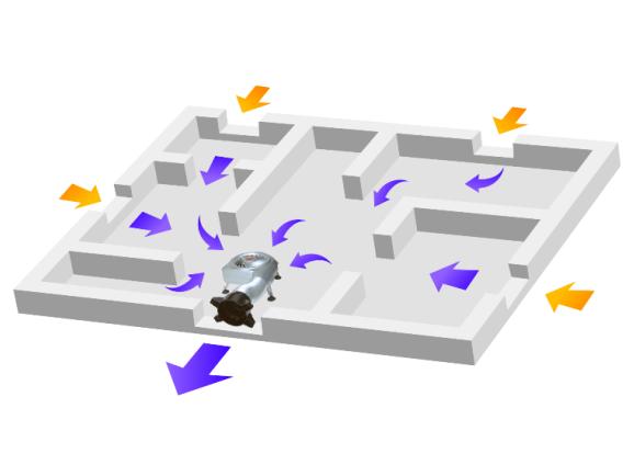 床下換気扇の流れ